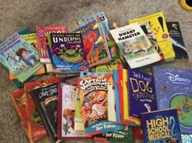 Around 40 books large variety incl Pooh, captain underpants & horrid Henry + many more