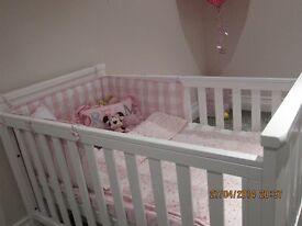 Beautiful white solid oak cot bed excellent condition.....Collection only.....