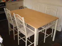table/4 padded metal cream chair set in leicester