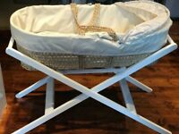 John Lewis Moses Basket and white stand