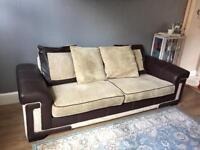 4 seater leather/fabric sofa