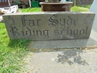 50% OFF. Large Stone Sign (Far Syde Riding School) ONLY £45.00