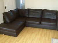 Leather Corner Sofa In Excellent Condition clean no rips or marks with fire saftey label can deliver