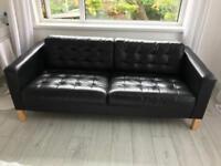 Black Leather 2 Seater IKEA Sofa