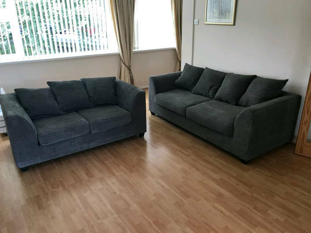 purchase cheap a7d06 16627 Dylan Byron Grey Fabric Jumbo Cord Sofa Settee Couch 3+2 Seater | in  Newport | Gumtree