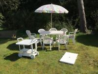 White Garden Table, Chairs with cushions, Umbrella, Drinks Trolley