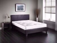 "❤-Jet Black/Coffee Brown-❤ Cheapest Price-❤ Double Leather Bed w 13"" Memory Foam Orthopedic Mattress"