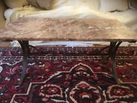 Italian pink marble coffee table with forged base indoor/outdoor CAN DELIVER BATH/BRISTOL