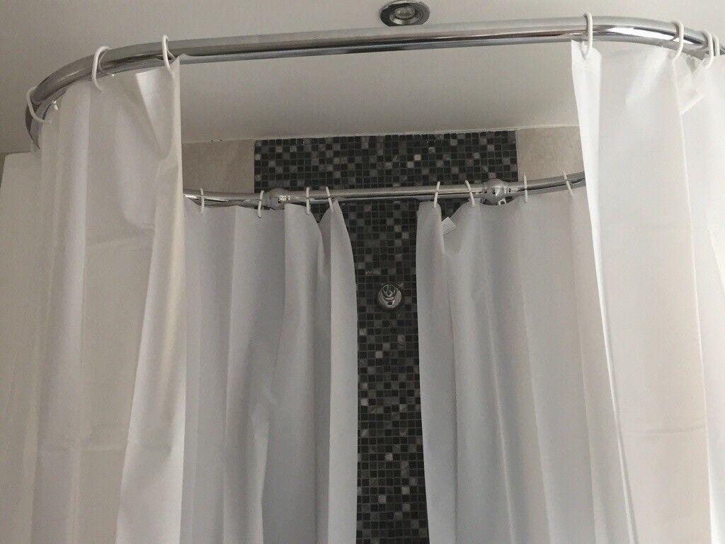 Traditional Chrome Oval Shower Curtain Raik