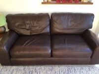 M&S Brown Leather large settee