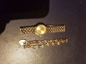 Small gate bracelet has hallmarks, and cheap watch.