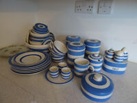 Collection of blue and white Cornishware