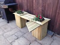 Double planter and single bench with table , free delivery
