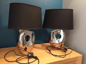 Pair of Modern Table Lamps with Bulbs and Black Fabric Shade