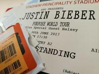 2x Justin Bieber Tickets - Cardiff Principality Stadium - 30th June
