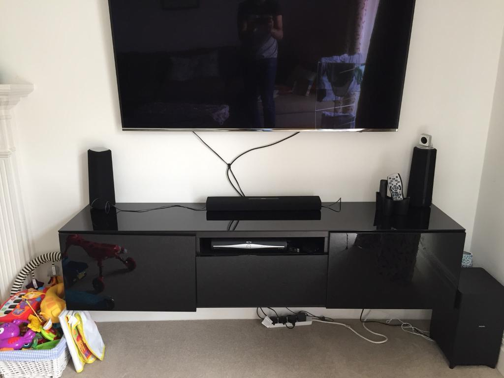 Ikea Besta Wall Mounted Tv Stand Black Gloss In
