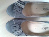 Size 4 Ladies Gabor grey wedge shoe