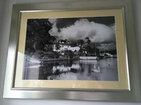 Pair of Silver Framed Black & White Photographs/Pictures of St Clements Village