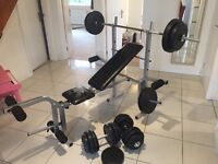 Weight Bench with Barbell, 2 x Weight Bars and Assorted Weights