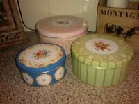 3 TIER DECORATIVE STORAGE TINS/CONTAINERS FOR CAKES/BISCUITS ETC