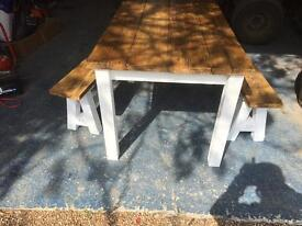 Lovely shabby shic table and benches