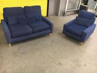Blue fabric 2+1 seater sofa set •free delivery