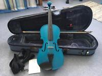 Stentor Metallic Blue 1/2 size Violin and Bow