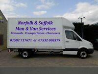 NORFOLK & SUFFOLK MAN & VAN REMOVALS LOWESTOFT YARMOUTH BECCLES BUNGAY HALESWORTH HARLESTON LODDON