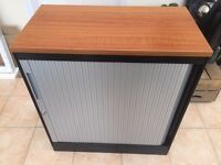 Steel suspension filing cabinet, with Tambour door and wooden top; commercial quality