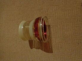 Beautiful vintage glass light shade. Round shade with red and white bands and frilled edge.