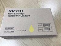 GENUINE RICOH PRINT CARTRIDGE - YELLOW X 2 - UNOPENED & UNUSED - 100ml