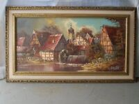 Oil Painting Of German Village near the Mohne Dam