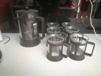 Cafetiere and 6 mugs by Bodum