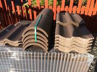 96x Quinn turf brown roof tiles and 10x ridge caps for sale
