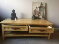 Solid Wood Coffee Table & Wood TV Stand & Large round mirror Cost us £315.00