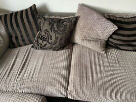 Large grey corded 3 seater