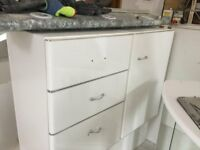 Bathroom cabinets, sink & toilet. Quality Decotec furniture.- 15 years old but in good condition.