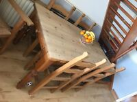 Pine table & 6 chairs for sale