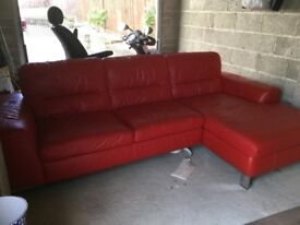 Harveys red leather corner suite 3 years old