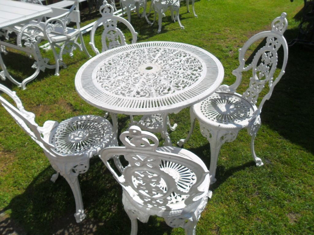 antique round table and chairs vintage white cast aluminium bistro set 1950s table 7486