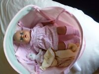 Baby Annabel interactive doll with carrycot, bottle + lots of extras.