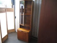 VINTAGE SAKOL TEAK TWO PIECE TALL GLAZED DISPLAY CABINET WITH BASE DOUBLE CUPBOARD FREE DELIVERY