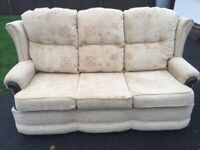 Attractive Beige Fabric & Wood 3 Seater Setee Sofa in VGC