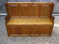 PINE PEW WITH STORAGE. MONKS BENCH / SETTLE. Delivery possible. Also old church pews & chapel chairs