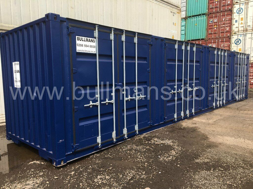 40ft - refurbished / repainted shipping container with four sets of side  access doors for sale