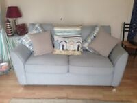 "Pale Blue Double Carson Sofa Bed with a ""Som Toile"" Bed Mechansim and Matress"