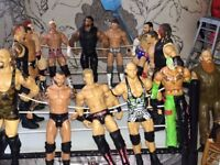 A collection of WWE elite wrestling figures and ring / ladder / chair.