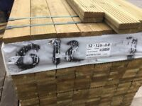 New Decking approximate 3m long x 125 mm x 32 mm wide £5.30 per length
