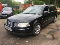VW PASSAT 1.9 TDI SPORT 2003, SPARES OR REPAIRS, STARTS AND DRIVES, PART EXCHANGE TO CLEAR