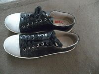 Bertie black and silver women's shoes size 5